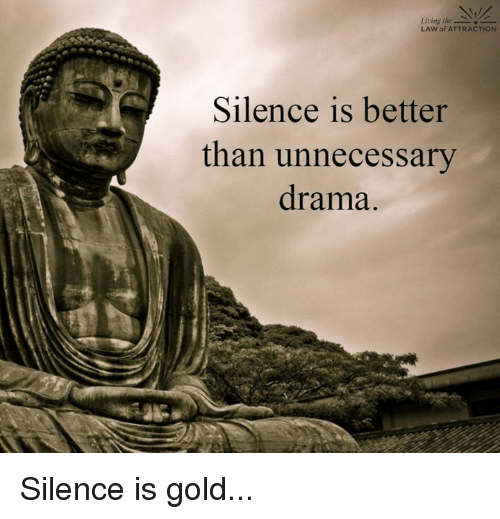 Memes, 🤖, and Silencer: Living the  LAW of ATTRACTION  Silence is better  than unnecessary  drama. Silence is gold...