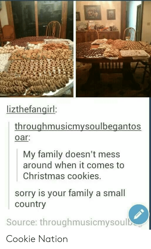 Christmas, Cookies, and Family: lizthefangirl:  throughmusicmysoulbegantos  oar  My family doesn't mess  around when it comes to  Christmas cookies.  sorry is your family a small  country  Source: throughmusicmysoulb Cookie Nation