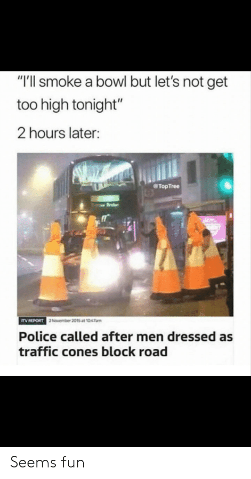 "cones: ""'ll smoke a bowl but let's not get  too high tonight""  2 hours later:  @TopTree  November 2015 at 1047am  Police called after men dressed as  traffic cones block road Seems fun"
