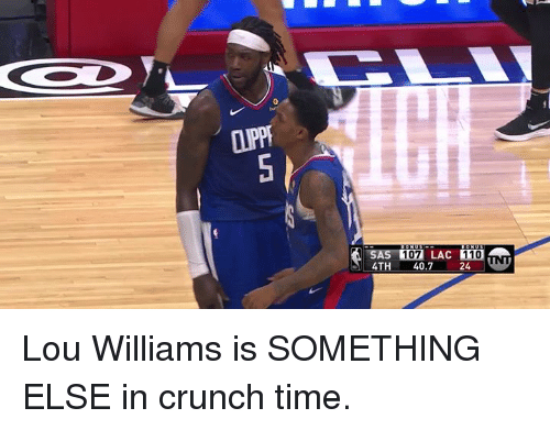 lou williams: LLU  107 LAC 110  4TH 40.724 Lou Williams is SOMETHING ELSE in crunch time.