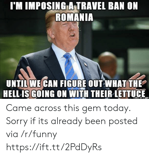 Funny, Sorry, and Today: l'M IMPOSING A-TRAVEL BAN ON  ROMANIA  UNTIL WE CAN FIGURE OUT WHAT THE  HELL ISGOING ON WITH THEIR LETTUE Came across this gem today. Sorry if its already been posted via /r/funny https://ift.tt/2PdDyRs