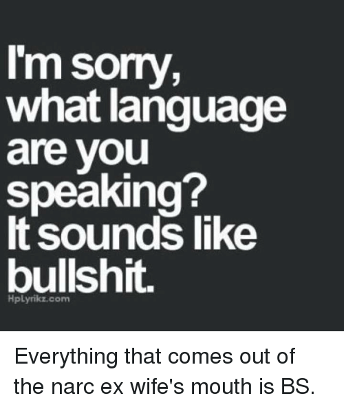 Narcing: l'm sorry,  what language  are vou  speaking?  It sounds like  bullshit.  HpLyrikz.com Everything that comes out of the narc ex wife's mouth is BS.