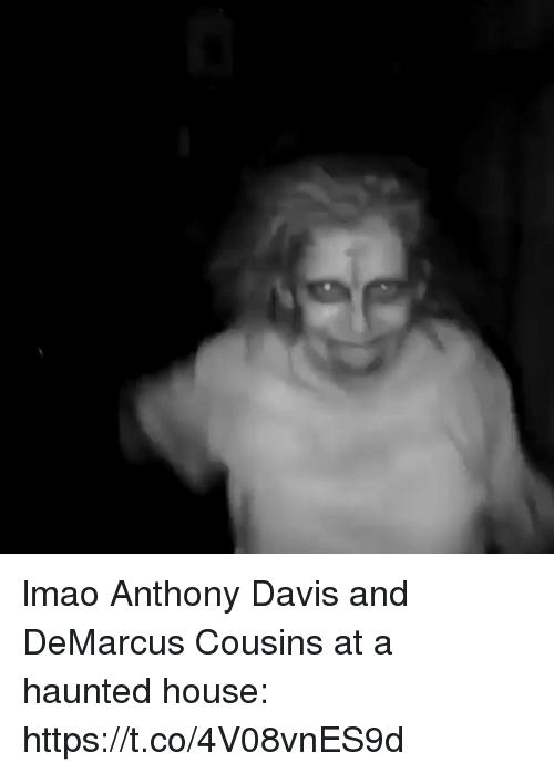 DeMarcus Cousins, Funny, and Lmao: lmao Anthony Davis and DeMarcus Cousins at a haunted house: https://t.co/4V08vnES9d