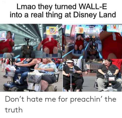 Disney, Lmao, and Hate Me: Lmao they turned WALL-E  into a real thing at Disney Land Don't hate me for preachin' the truth