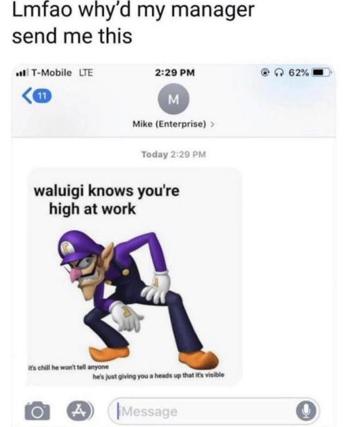 Chill, T-Mobile, and Work: Lmfao why'd my manager  send me this  T-Mobile LTE  2:29 PM  Mike (Enterprise)>  Today 2:29 PM  waluigi knows you're  high at work  its chill he won't tell anyone  he's just giving you a heads up that it's visible  Message