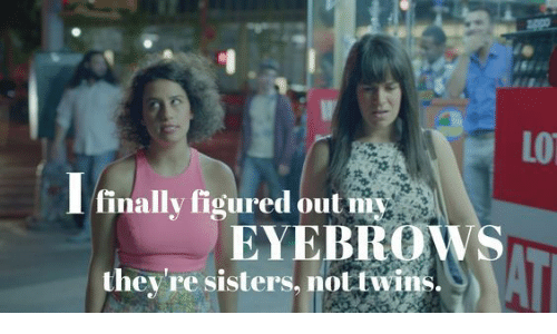 Twins, Sisters, and Eyebrows: LO  finally figured out my  EYEBROWS  they're sisters, not twins.  AT