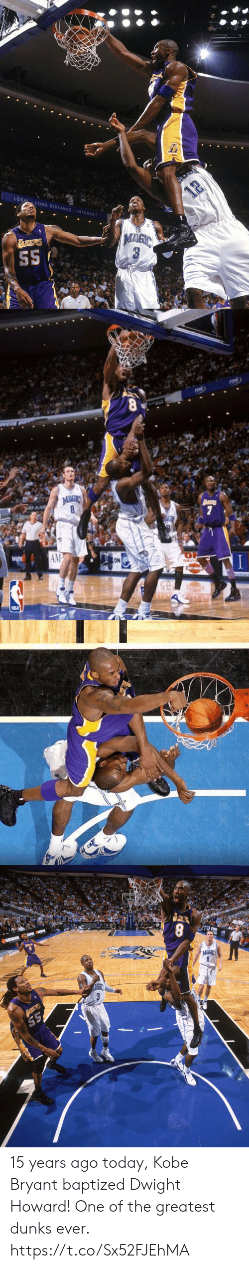 Dwight Howard, Internet, and Kobe Bryant: LOCAL LONG DISTANCE INTERNET  12  TAKERS  S5   FON  MAGIC  art  8  7  AM  ON  URANCE  NBA   UGHES ACS  8  TIKDOK HaK  напкоок  MAGIC  8 15 years ago today, Kobe Bryant baptized Dwight Howard!  One of the greatest dunks ever. https://t.co/Sx52FJEhMA