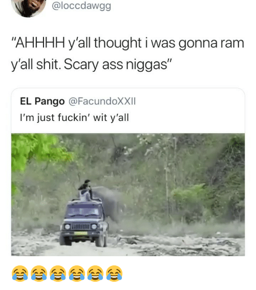 "Ass, Shit, and Girl Memes: @loccdawgg  ""AHHHH y'all thought i was gonna ram  y'all shit. Scary ass niggas  I1  EL Pango @FacundoXXII  I'm just fuckin' wit y'all 😂😂😂😂😂😂"