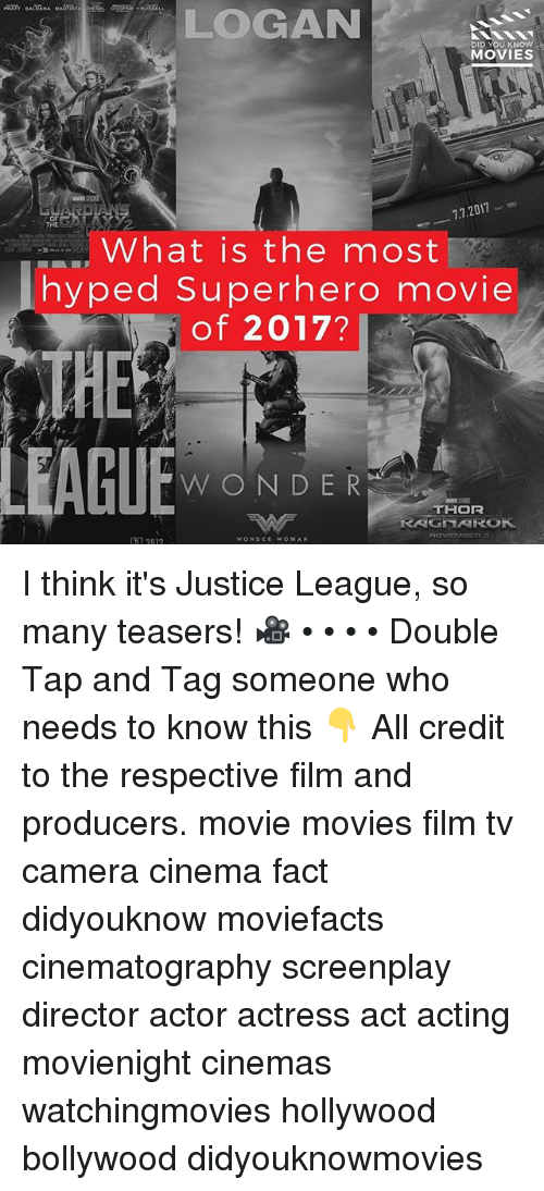 Memes, Movies, and Superhero: LOGAN  DID YOU KNOW  MOVIES  7.7.2017  OF  TRE  What is the most  hyped Superhero movie  of 2017?  ■■■,  THE  WONDER  THOR  RAGNAROK  1 2017 I think it's Justice League, so many teasers! 🎥 • • • • Double Tap and Tag someone who needs to know this 👇 All credit to the respective film and producers. movie movies film tv camera cinema fact didyouknow moviefacts cinematography screenplay director actor actress act acting movienight cinemas watchingmovies hollywood bollywood didyouknowmovies