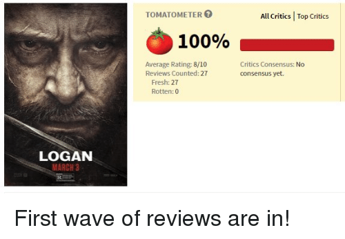 Averagers: LOGAN  MARCH 3  TOMATOMETER  100%  Average Rating: 8/10  Reviews Counted: 27  Fresh: 27  Rotten: 0  All critics I Top critics  Critics Consensus: No  consensus yet. First wave of reviews are in!