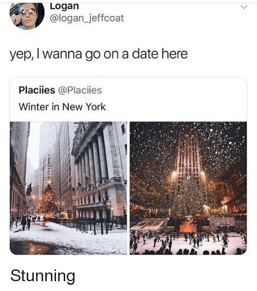 Memes, New York, and Winter: Logan  ologan jerrcoat  yep, I wanna go on a date here  Placiies @Placiies  Winter in New York Stunning