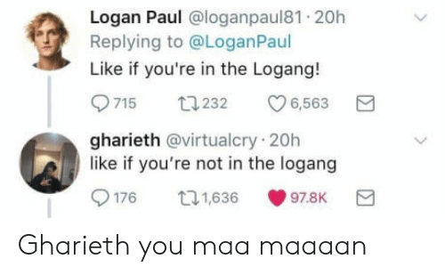 Paul, You, and Like: Logan Paul @loganpaul81 20h  Replying to @LoganPaul  Like if you're in the Logang!  9715 232 6,563  gharieth @virtualcry 20h  like if you're not in the logang  176 111638 978K Gharieth you maa maaaan