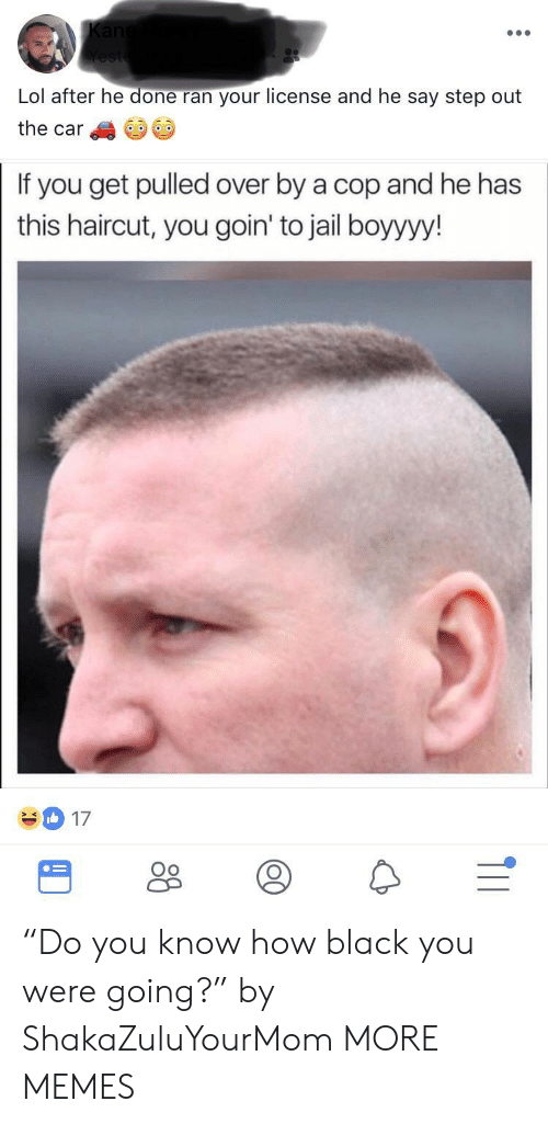 """Dank, Haircut, and Jail: Lol after he done ran your license and he say step out  the car  If you get pulled over by a cop and he has  this haircut, you goin' to jail boyyyy!  17  Oo """"Do you know how black you were going?"""" by ShakaZuluYourMom MORE MEMES"""