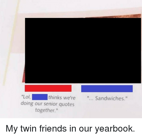 "Friends, Lol, and Senior Quotes: Lol  doing our senior quotes  thinks we're... Sandwiches.""  together."" My twin friends in our yearbook."