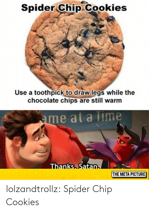 Cookies: lolzandtrollz:  Spider Chip Cookies