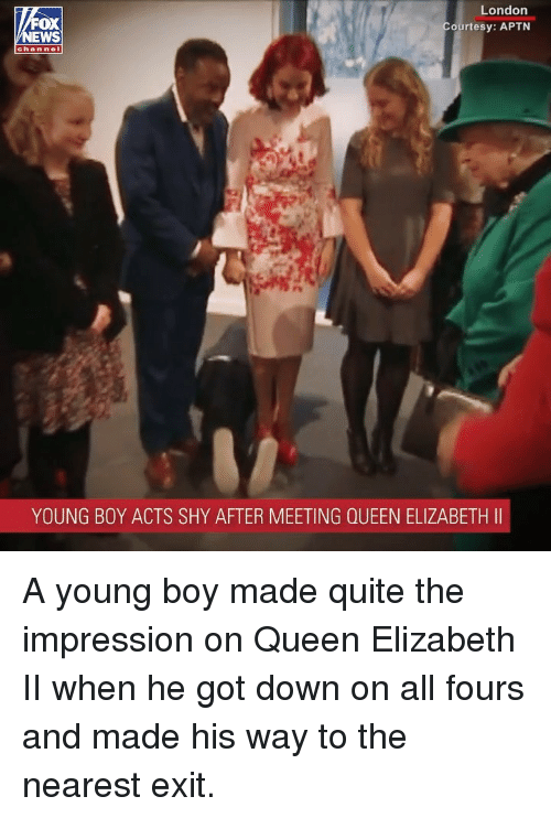 Memes, Queen Elizabeth, and Queen: London  ourtesy: APTN  FOX  channel  YOUNG BOY ACTS SHY AFTER MEETING QUEEN ELIZABETH II A young boy made quite the impression on Queen Elizabeth II when he got down on all fours and made his way to the nearest exit.
