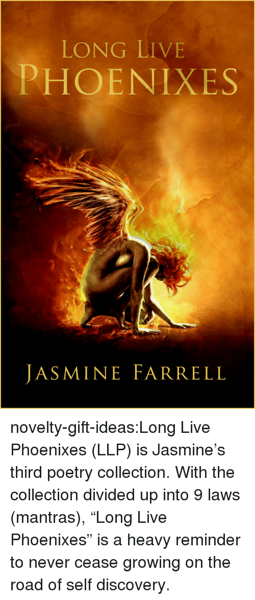 "Divided: LONG LIVE  PHOENIXES  JASMINE FARRELL novelty-gift-ideas:Long Live Phoenixes (LLP)   is Jasmine's third poetry collection. With the collection divided up into 9 laws (mantras), ""Long Live Phoenixes"" is a heavy reminder to never cease growing on the road of self discovery."