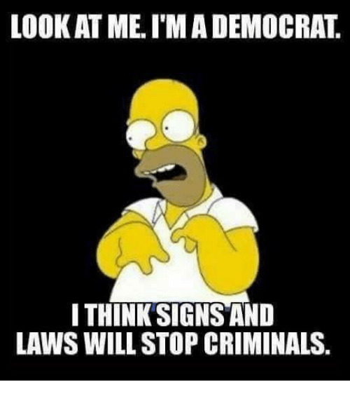 Memes, 🤖, and Looking: LOOK AT ME. I'MADEMOCRAT  I THINK SIGNS AND  LAWS WILL STOP CRIMINALS.