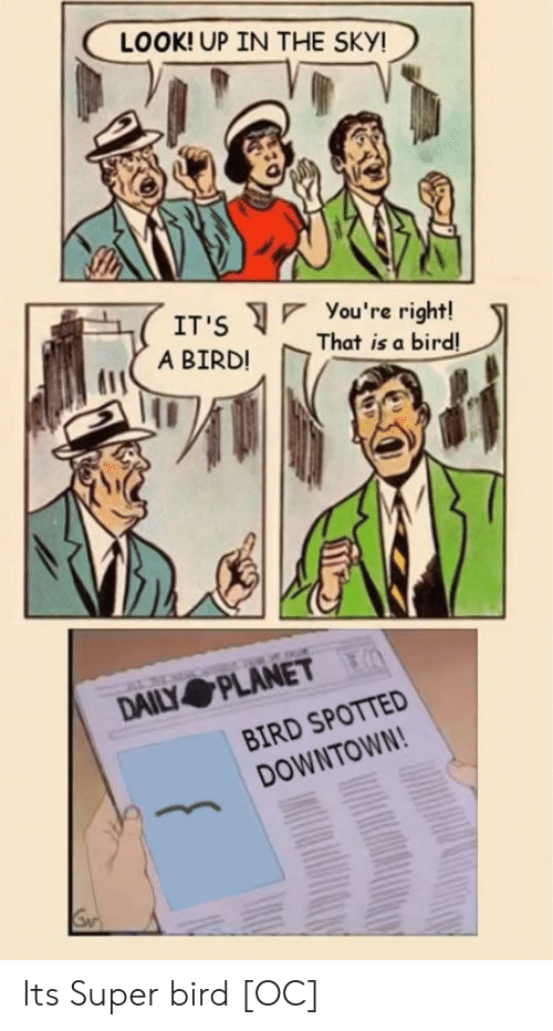 Spotted: LOOK! UP IN THE SKY!  You 're right!  That is a bird!  IT'S  A BIRD!  DAILY PLANET  BIRD SPOTTED  DOWNTOWN! Its Super bird [OC]