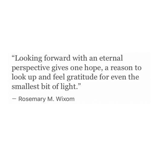 "Hope, Reason, and Looking: ""Looking forward with an eternal  perspective gives one hope, a reason to  look up and feel gratitude for even the  smallest bit of light.""  95  Rosemary M. Wixom"