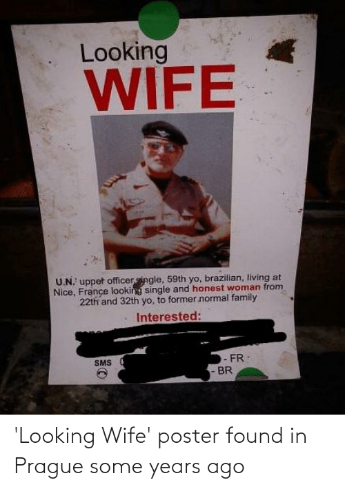 Prague: 'Looking Wife' poster found in Prague some years ago
