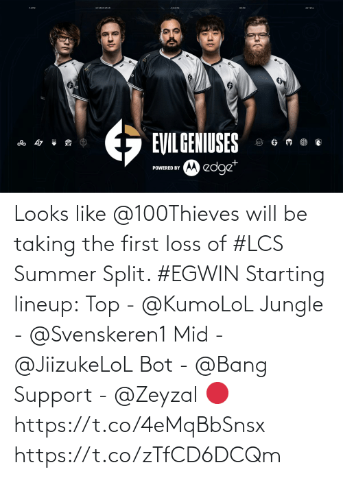 The First: Looks like @100Thieves will be taking the first loss of #LCS Summer Split. #EGWIN  Starting lineup: Top - @KumoLoL Jungle - @Svenskeren1 Mid - @JiizukeLoL Bot - @Bang Support - @Zeyzal   🔴 https://t.co/4eMqBbSnsx https://t.co/zTfCD6DCQm