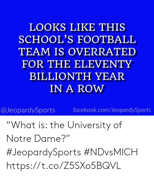 """Facebook, Football, and Sports: LOOKS LIKE THIS  SCHOOL'S FOOTBALL  TEAM IS OVERRATED  FOR THE ELEVENTY  BILLIONTH YEAR  IN A ROW  @JeopardySports  facebook.com/JeopardySports """"What is: the University of Notre Dame?"""" #JeopardySports #NDvsMICH https://t.co/Z5SXo5BQVL"""