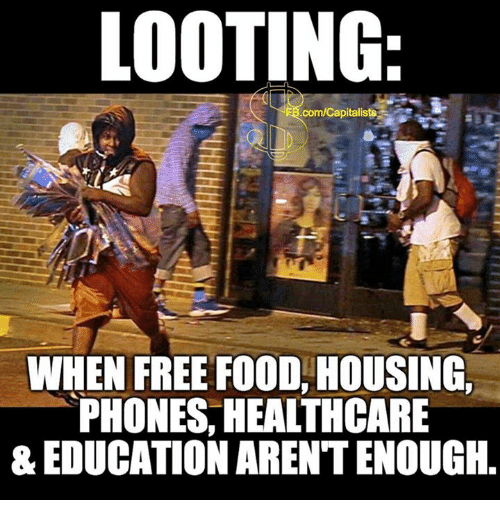 Food, Free, and Com: LOOTING  com/Capitaliste  WHEN FREE FOOD, HOUSING,  PHONES, HEALTHCARE  & EDUCATION AREN'T ENOUGH.