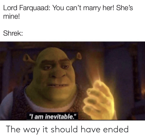"""Marry Her: Lord Farquaad: You can't marry her! She's  mine!  Shrek:  """"I am inevitable."""" The way it should have ended"""