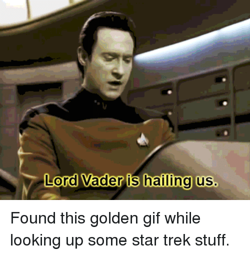 Funny, Gif, and Star Trek: Lord Vader is hailing us. Found this golden gif while looking up some star trek stuff.