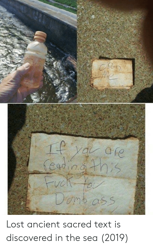 Lost, Text, and Ancient: Lost ancient sacred text is discovered in the sea (2019)