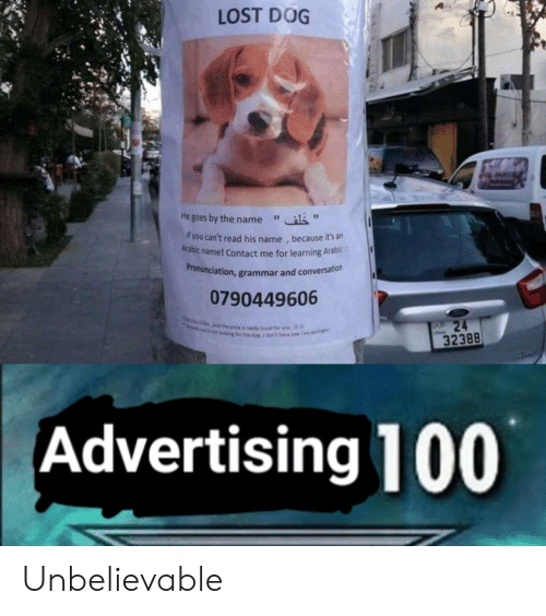 """Lost, Dog, and Grammar: LOST DOG  He goes by the name""""  f you can't read his name , because it's an  Arabic name! Contact me for learning Arabic:  ronunciation, grammar and conversation  Pr  0790449606  32388  Advertising 100 Unbelievable"""
