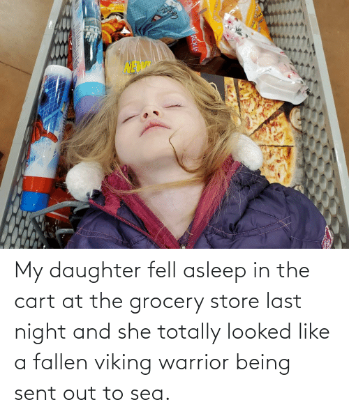 daughter: Lotange My daughter fell asleep in the cart at the grocery store last night and she totally looked like a fallen viking warrior being sent out to sea.