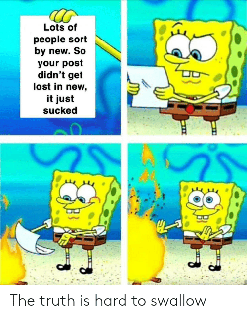 The Truth Is: Lots of  people sort  by new. So  your post  didn't get  lost in new,  it just  sucked The truth is hard to swallow