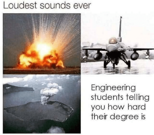 Loudest: Loudest sounds ever  Engineering  students telling  you how hard  their degree is