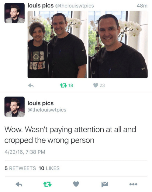 Wow, Pics, and All: louis pics @thelouiswtpics  48m  18  23  louis pics  @thelouiswtpics  Wow. Wasn't paying attention at all and  cropped the wrong person  4/22/16, 7:38 PM  5 RETWEETS 10 LIKES