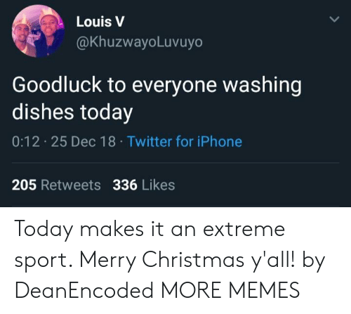extreme sport: Louis V  @KhuzwayoLuvuyo  Goodluck to everyone washing  dishes today  0:12 25 Dec 18 Twitter for iPhone  205 Retweets 336 Likes Today makes it an extreme sport. Merry Christmas y'all! by DeanEncoded MORE MEMES