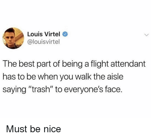 """Funny, Trash, and Best: Louis Virtel  @louisvirtel  The best part of being a flight attendant  has to be when you walk the aisle  saying """"trash"""" to everyone's face Must be nice"""