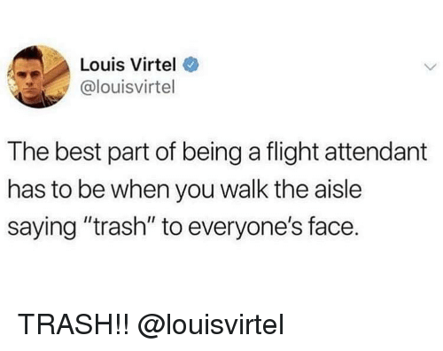 """Trash, Best, and Flight: Louis Virtel  @louisvirtel  The best part of being a flight attendant  has to be when you walk the aisle  saying """"trash"""" to everyone's face. TRASH!! @louisvirtel"""