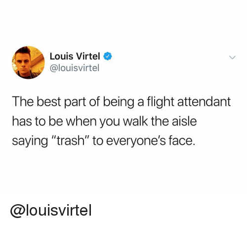 "Trash, Best, and Flight: Louis Virtel o  @louisvirtel  The best part of being a flight attendant  has to be when you walk the aisle  saying ""trash"" to everyone's face. @louisvirtel"