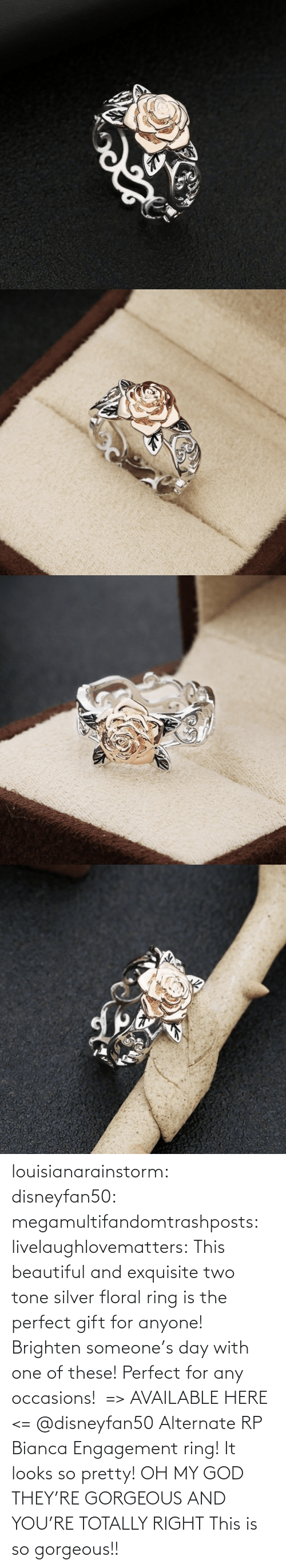 beautiful: louisianarainstorm: disneyfan50:  megamultifandomtrashposts:  livelaughlovematters:  This beautiful and exquisite two tone silver floral ring is the perfect gift for anyone! Brighten someone's day with one of these! Perfect for any occasions!  => AVAILABLE HERE <=    @disneyfan50 Alternate RP Bianca Engagement ring! It looks so pretty!  OH MY GOD THEY'RE GORGEOUS AND YOU'RE TOTALLY RIGHT    This is so gorgeous!!