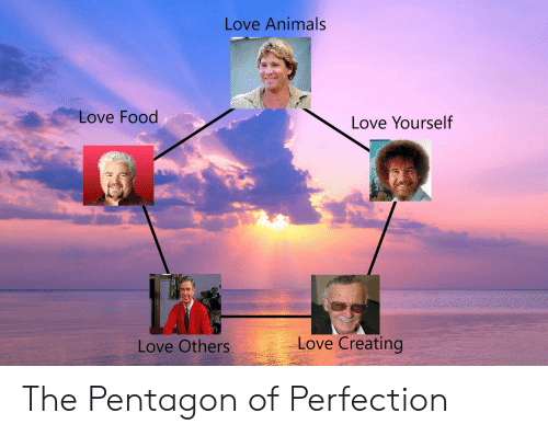 pentagon: Love Animals  Love Food  Love Yourself  Love Creating  Love Others The Pentagon of Perfection