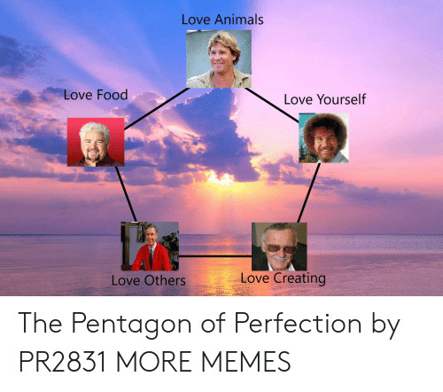 pentagon: Love Animals  Love Food  Love Yourself  Love Creating  Love Others The Pentagon of Perfection by PR2831 MORE MEMES