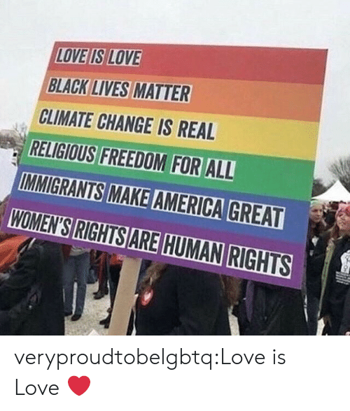 Black Lives Matter, Love, and Tumblr: LOVE IS LOVE  BLACK LIVES MATTER  CLIMATE CHANGE IS REAL  RELIGIOUS FREEDOM FOR ALL  WOMEN'S RIGHTS ARE HUMAN RIGHTS veryproudtobelgbtq:Love is Love ❤️