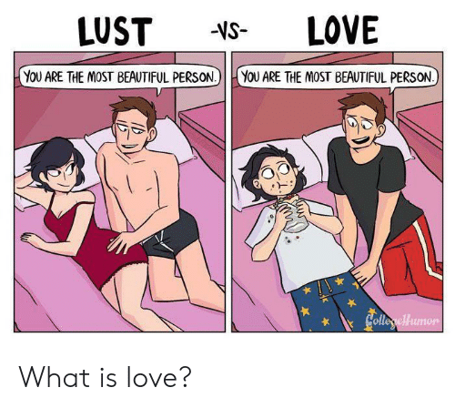 Beautiful, Love, and What Is: LOVE  LUST  -VS-  YOU ARE THE MOST BEAUTIFUL PERSON.)  YOU ARE THE MOST BEAUTIFUL PERSON  Colleryellumon What is love?
