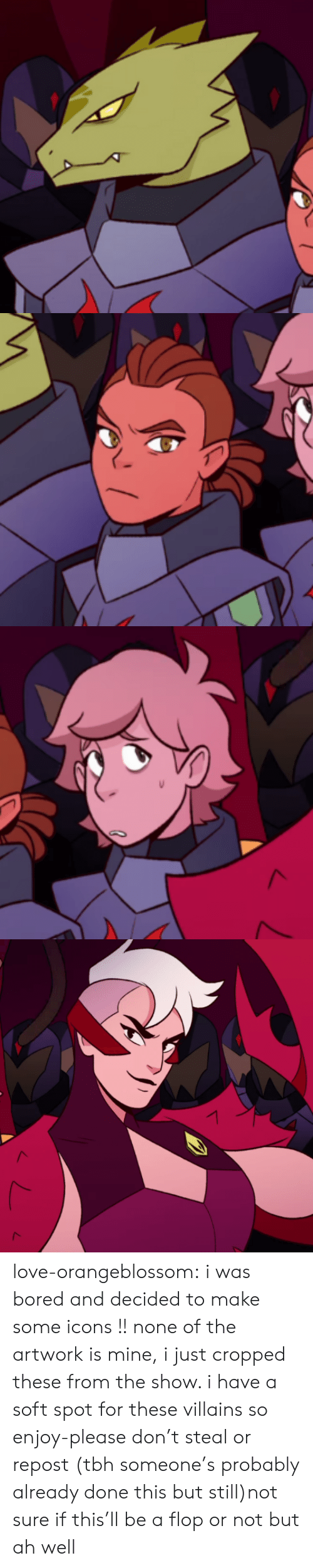 Bored, Love, and Tbh: love-orangeblossom:  i was bored and decided to make some icons !! none of the artwork is mine, i just cropped these from the show. i have a soft spot for these villains so enjoy-please don't steal or repost (tbh someone's probably already done this but still)not sure if this'll be a flop or not but ah well