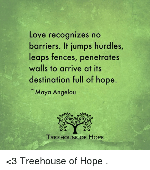 Memes, Maya Angelou, and Jumped: Love recognizes no  barriers. It jumps hurdles,  leaps fences, penetrates  walls to arrive at its  destination full of hope  Maya Angelou  TREEHOUSE OF HOPE <3 Treehouse of Hope  .