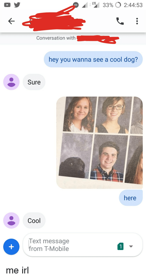 T-Mobile, Cool, and Mobile: LTE  AI :  3396 0 2:44:53  Conversation with  hey you wanna see a cool dog?  Sure  here  Cool  Text message  from T-Mobile  1