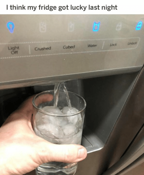 Dank, Water, and 🤖: lthink my fridge got lucky last night  Unook  Lock  Water  Cubed  ht  Crushed
