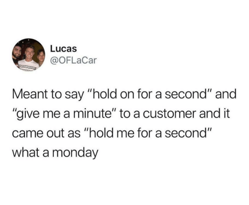 "customer: Lucas  @OFLaCar  MSUMSOME  Meant to say ""hold on for a second"" and  ""give me a minute"" to a customer and it  came out as ""hold me for a second""  what a monday"